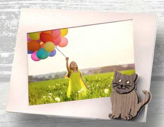 Portafoto Gattino in metallo bianco e legno con strass SML-01 1/2/3 Gatto Legno Negò