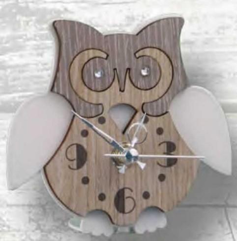 Orologio Gufetto in metallo bianco e legno con strass SGL-03-06 Serie Gufo Legno Negò