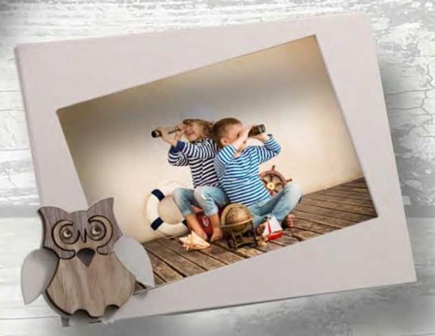 Portafoto Gufetto in metallo bianco e legno con strass SGL-01 1/2/3 Gufo Legno Negò