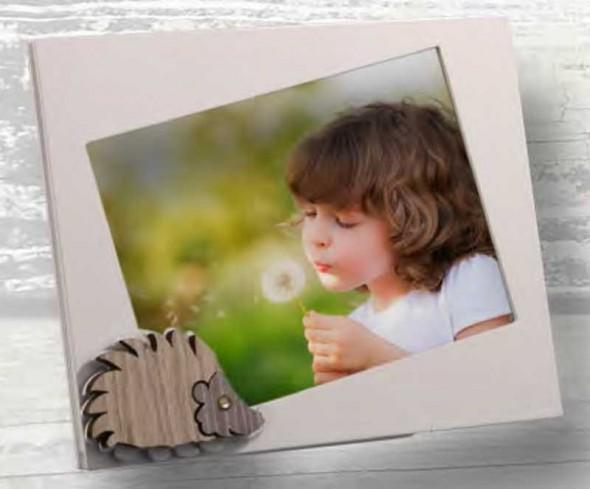Portafoto Riccio in metallo bianco e legno con strass RIL-01-1-2-3 Serie Riccio Legno Negò