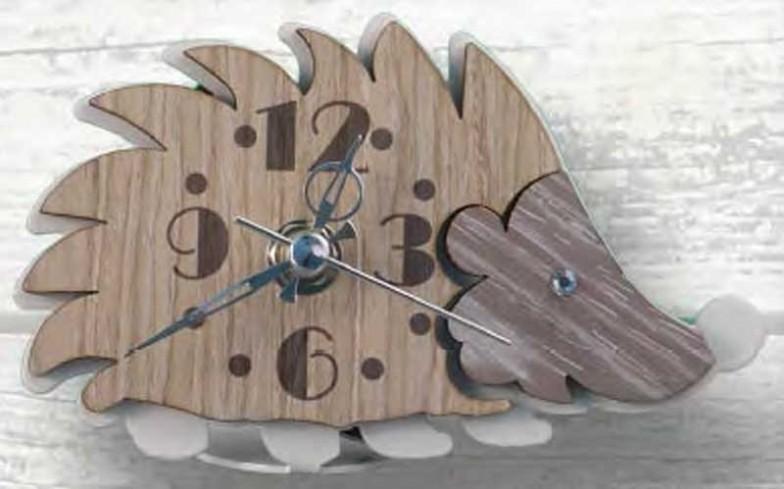 Orologio Riccio in metallo bianco e legno con strass RIL-03/06 Riccio Legno Negò