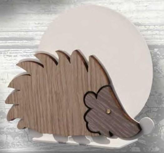 Portacarte Riccio in metallo bianco e legno con strass RIL-04 Riccio Legno Negò