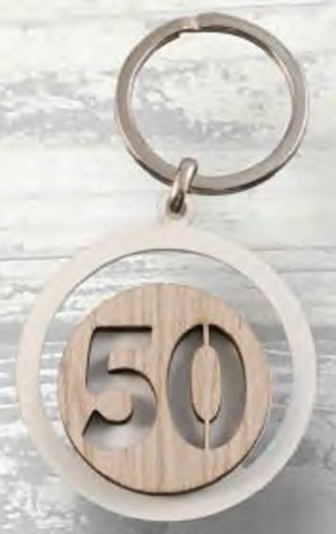 Portachiavi Nozze d'oro 50 in metallo e legno PC-28 Portachiavi Eventi Negò
