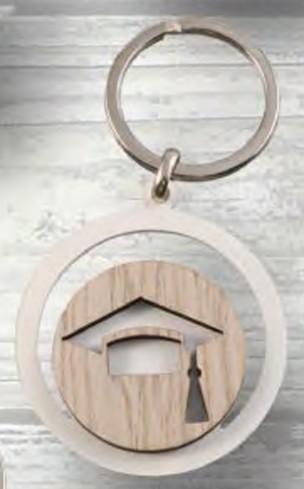 Portachiavi Laurea in metallo e legno PC-27 Portachiavi Eventi Negò