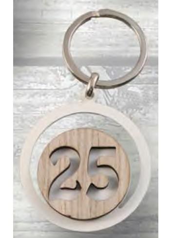 Portachiavi Nozze d'argento 25 in metallo e legno PC-26 Portachiavi Eventi Negò