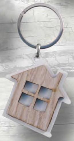 Portachiavi Casa in metallo e legno PC-38 Portachiavi Legno Negò