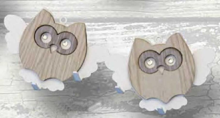 Appendino doppio Gufetto in metallo con applicazione in legno e strass APD-08 Appendi-Mi Negò
