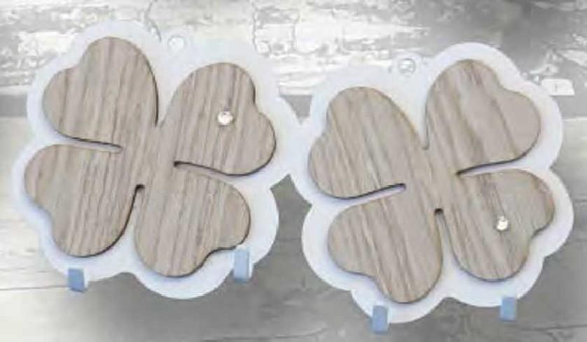 Appendino doppio Quadrifoglio in metallo con applicazione in legno e strass APD-07 Appendi-Mi Negò