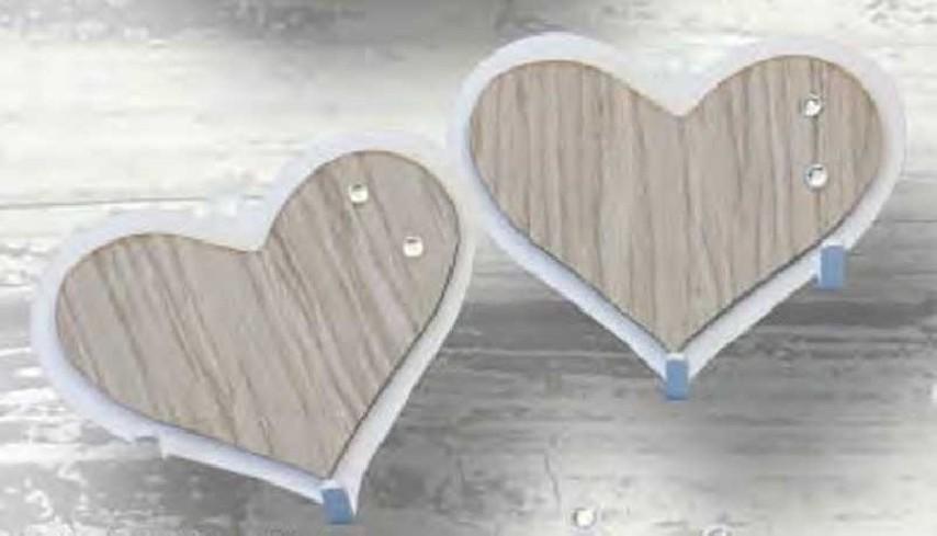 Appendino doppio Cuore in metallo con applicazione in legno e strass APD-06 Appendi-Mi Negò