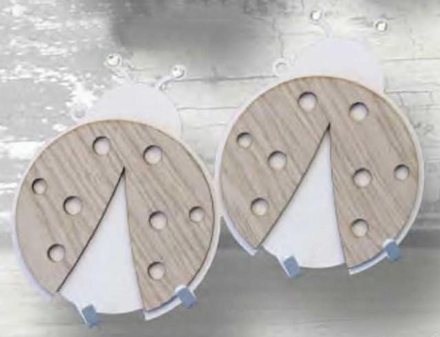 Appendino doppio Coccinella in metallo con applicazione in legno e strass APD-05 Appendi-Mi Negò