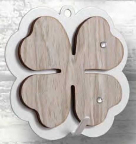 Appendino Quadrifoglio in metallo con applicazione in legno e strass APD-03 Appendi-Mi Negò