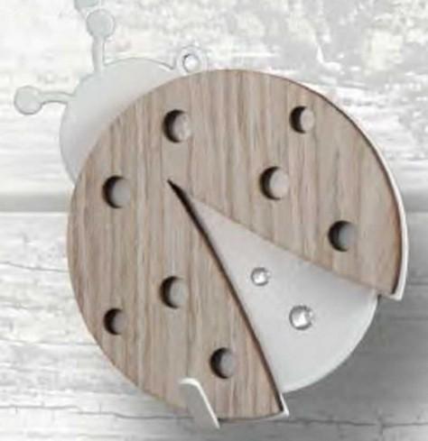 Appendino Coccinella in metallo con applicazione in legno e strass APD-01 Appendi-Mi Negò