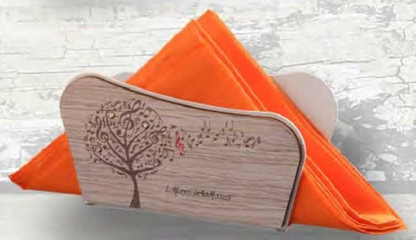 Portatovaglioli in metallo bianco con applicazione in legno e strass LAM-04 L'albero della musica Negò