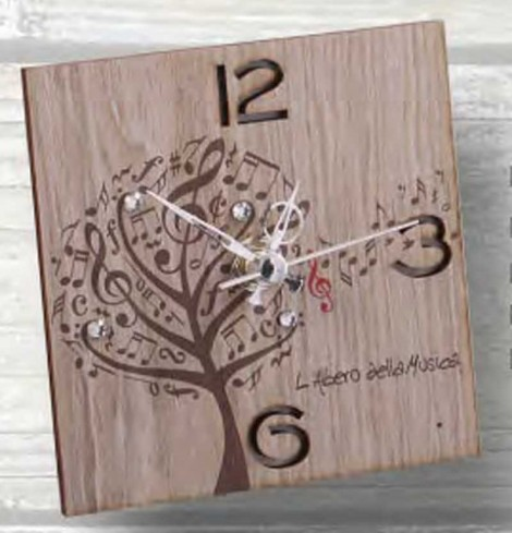 Orologio in metallo bianco con applicazione in legno e strass LAM-03-08-06-12 Serie L'albero della musica Negò