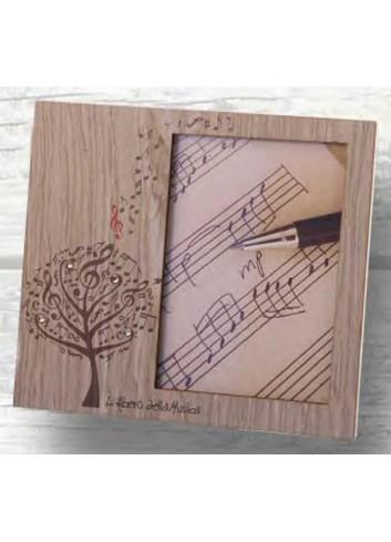 Portafoto in metallo bianco con applicazione in legno e strass LAM-01-1-2 Serie L'albero della musica Negò