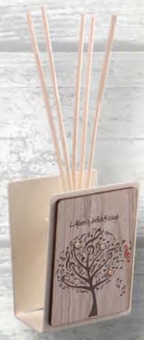Profumatore in metallo bianco con applicazione in legno e strass LAM-02 L'albero della musica Negò