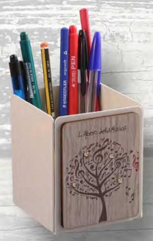 Portapenne in metallo bianco con applicazione in legno e strass LAM-05 Serie L'albero della musica Negò