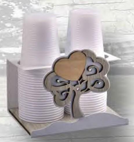 Portabicchieri in metallo bianco con albero della vita in legno e strass ALB-09 Serie Albero Negò