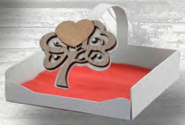 Portatovaglioli in metallo bianco con albero della vita in legno e strass ALB-11 Serie Albero Negò