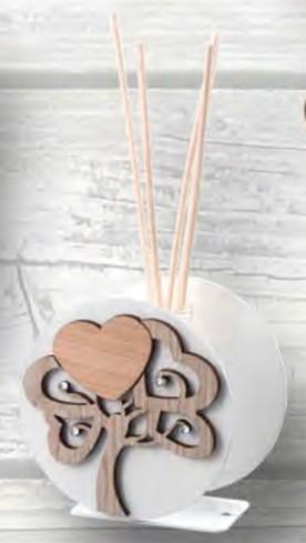 Profumatore in metallo bianco con albero della vita in legno e strass ALB-02 Albero Negò