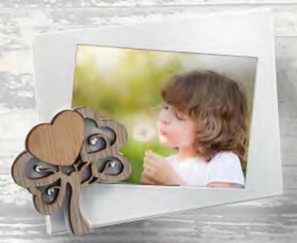 Portafoto in metallo bianco con albero della vita in legno e strass ALB-01-1-2-3 Serie Albero Negò