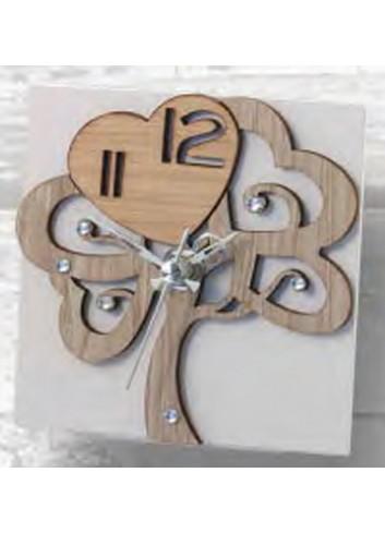 Orologio in metallo bianco con albero della vita in legno e strass ALB-03-08-06-12-13 Serie Albero Negò