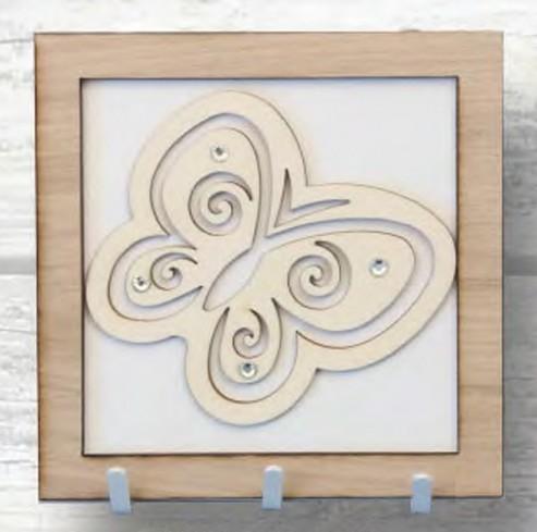 Appendino farfalla in metallo bianco e legno con strass QUI-01 Quadretti Negò