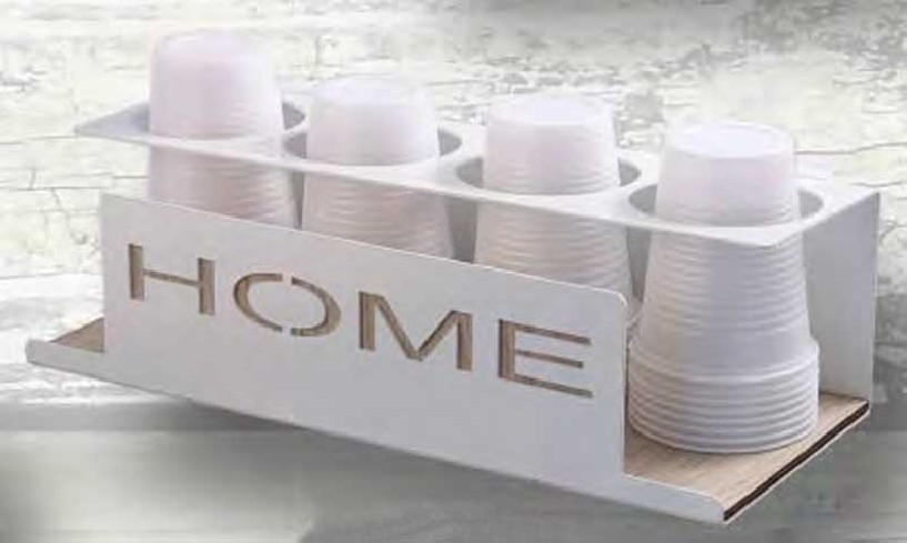 Portabicchieri da 4 in metallo con applicazioni in legno HME-04 Home Negò