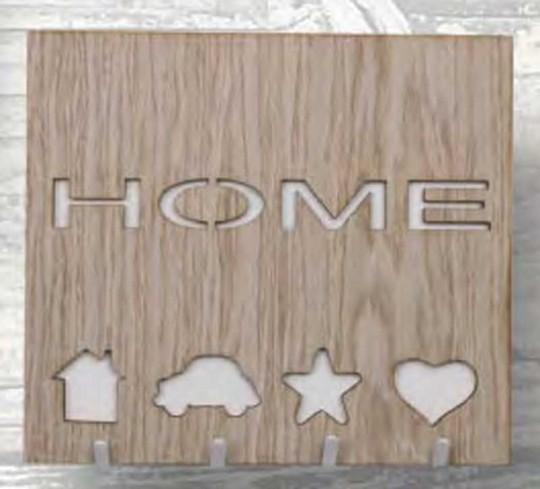 Appendichiavi da parete 4 portachiavi in metallo con applicazioni in legno HME-05 Home Negò