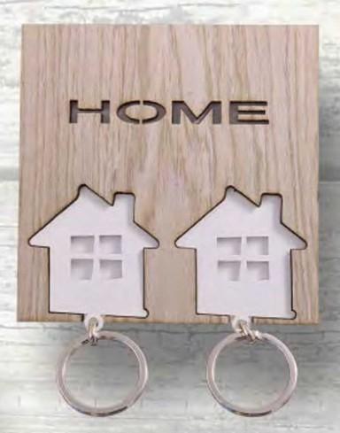 Appendichiavi da parete 2 portachiavi in metallo con applicazioni in legno HME-02 Home Negò