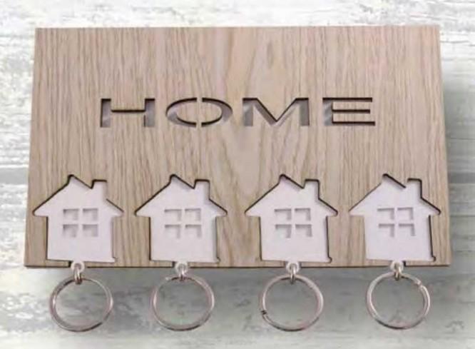 Appendichiavi da parete 4 portachiavi in metallo con applicazioni in legno HME-01 Home Negò