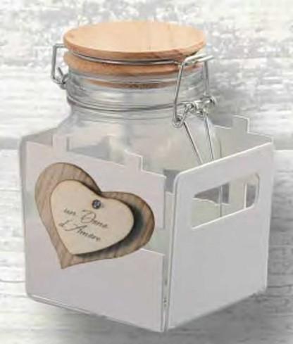 Vaschetta in metallo con un barattolo in vetro con tappo in legno Claudia CLA-01 Negò