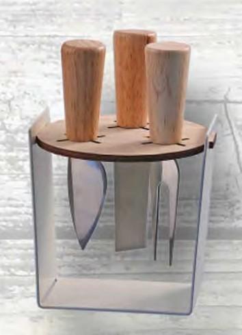 Portacoltellini in metallo e legno con tre coltelli manico in legno Autunno AUT-02 Negò