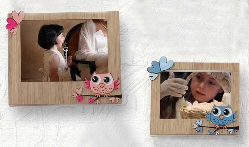 Portafoto orizzontale in rovere con applicazione gufo rosa o azzurro Baby Gufo GB-01/1-2-3 Negò