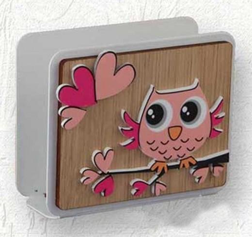 Portacarte in rovere con applicazione gufo rosa o azzurro Baby Gufo GB-04 Negò