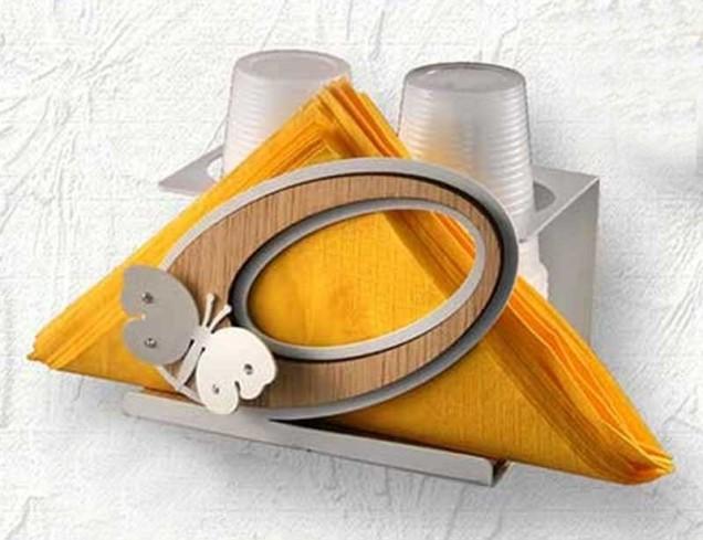 Portabicchieri in metallo bianco e legno di rovere Casa SCA-02 Negò