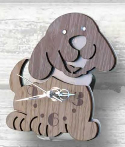 Orologio Cagnolino in metallo bianco e legno con strass CLS-03-06 Serie Cane Legno Negò