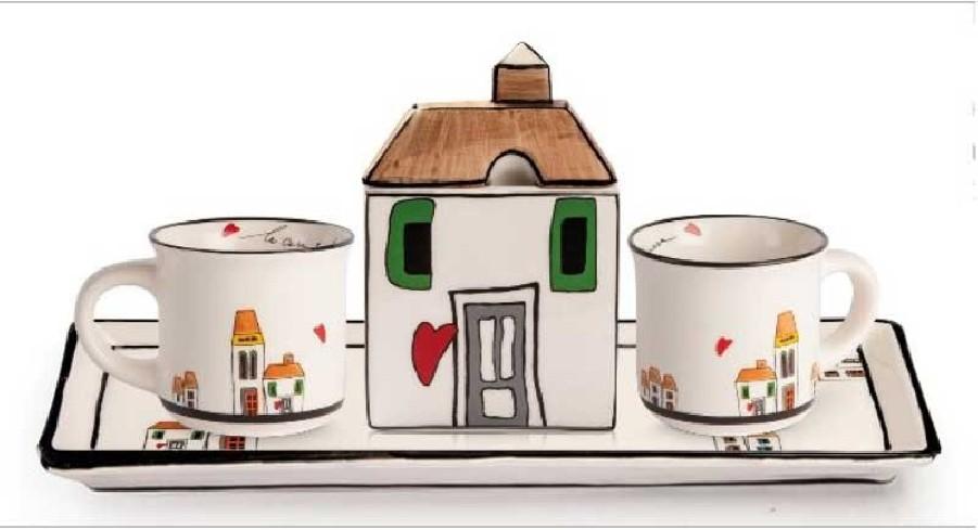 Set 2 mini mug con zuccheriera e vassoio rettangolare LCSET/2 Le casette Egan