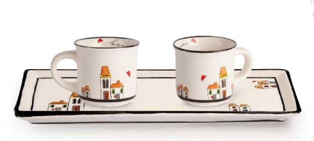 Set 2 mini mug con vassoio rettangolare LCSET/3 Le casette Egan