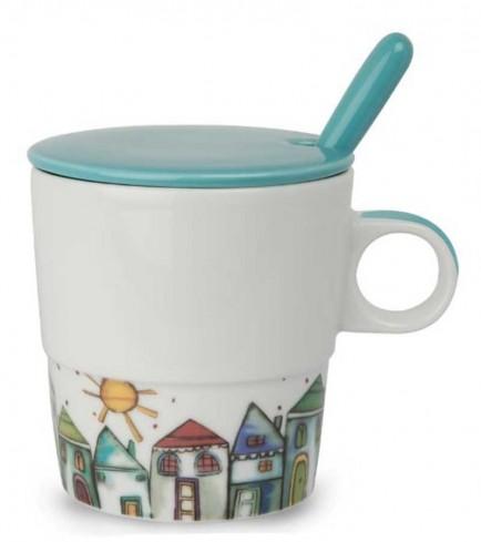 Mug con coperchio e cucchiaino celeste La serenità PTE31/1CC Tea for Two Egan