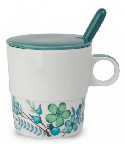 Mug con coperchio e cucchiaino azzurro La casa PTE31/1AZC Tea for Two Egan