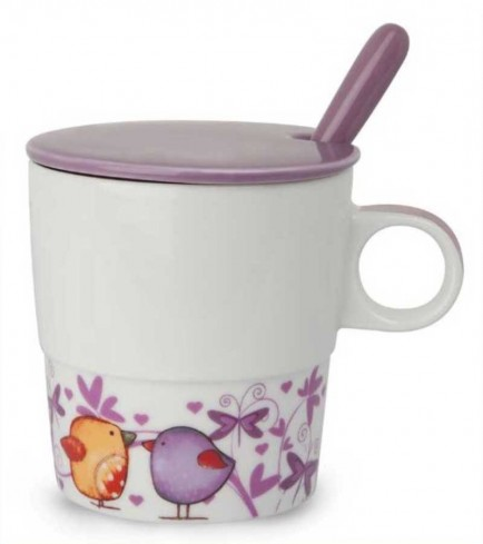 Mug con coperchio e cucchiaino viola Il calore PTE31/1VIC Tea for Two Egan