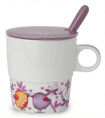 Mug con coperchio e cucchiaino viola Il calore PTE31/1VIC Tea for Two Egan