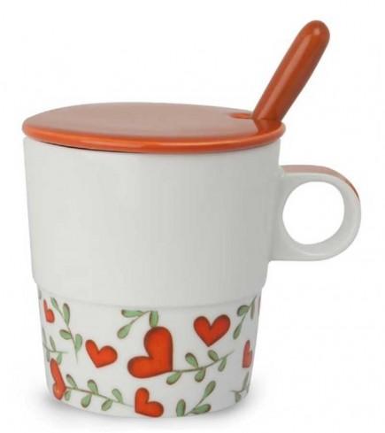 Mug con coperchio e cucchiaino rosso L'amore e l'amicizia PTE31/1SC Tea for Two Egan