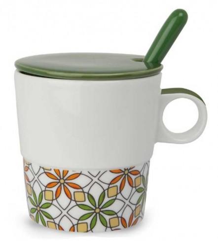 Mug con coperchio e cucchiaino verdone La raffinatezza PTE31/1VSC Tea for Two Egan