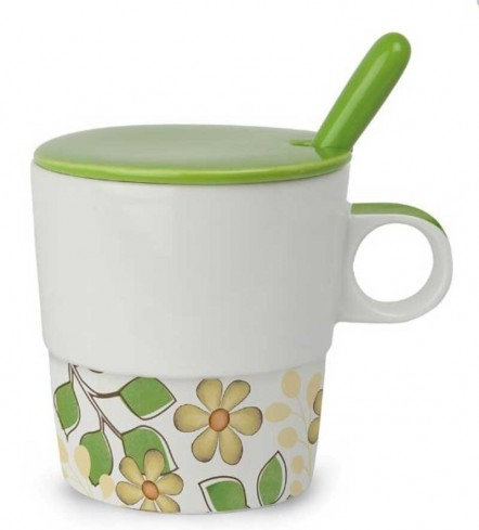 Mug con coperchio e cucchiaino verde La vita PTE31/1VC Tea for Two Egan