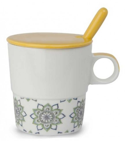 Mug con coperchio e cucchiaino giallo La saggezza PTE31/1GC Tea for Two Egan