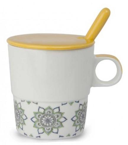Mug con coperchio e cucchiaino giallo La saggezza PTE31/1GC Tea for Two Egan