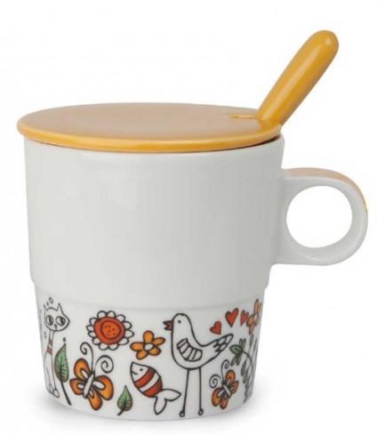 Mug con coperchio e cucchiaino arancio La fantasia PTE31/1AC Tea for Two Egan