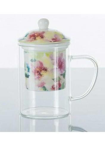 Tisaniera in vetro con decorazione fiori A7635 Kharma Living